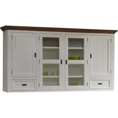 Vitrine blanc contemporain en bois massif acacia L. 225 x P. 47 x H. 121 cm collection Invite