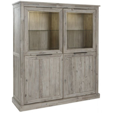 Argentier - vaisselier - vitrine gris contemporain en bois massif acacia  L. 142 x P. 45 x H. 159 cm  collection Obtain