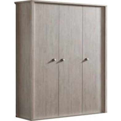 Armoire 3 portes marron contemporain en panneaux de particules  mélaminé de haute qualité   L. 64 x P. 64 x H. 200 cm  collection Islam