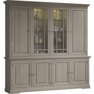 Argentier - vaisselier - vitrine marron classique en bois massif  L. 234 x P. 51 x H. 235 cm collection Casaldachoca