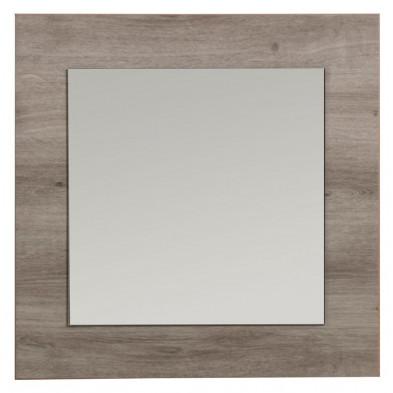 Miroir mural décoratif contemporain marron en panneaux de particules de haute qualité L. 60 x H. 60 cm Collection Xin