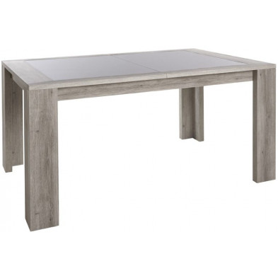 Table extensible contemporaine marron en bois MDF et panneaux de particules 160-210 cm – hauteur : 75 cm – largeur : 100 cm Collection Naron