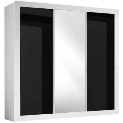 Armoire blanc design en panneaux de particules en finitions laquées L. 220 x P. 68 x H. 220 cm collection Wallawalla
