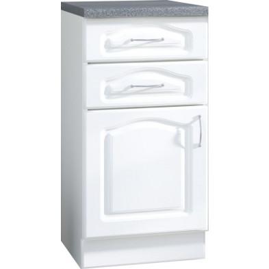 Meuble bas de cuisine style contemporain 1 porte et 2 tiroirs coloris blanc Façade bois MDF blanc mat + Caisson en panneaux de particules L. 40 x P. 60 x H. 82 cm collection Dingman