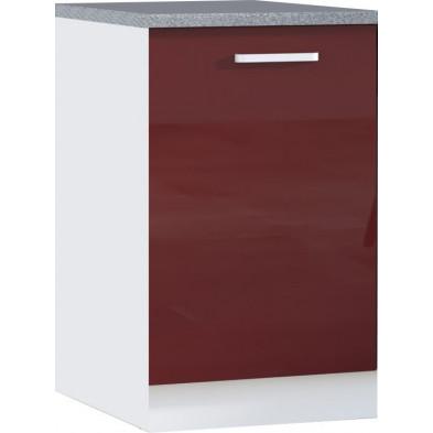 Meuble bas de cuisine design 1 porte coloris blanc mat et rouge laqué façade finition laqué haute brillance + Caisson en panneaux de particules 16mm recouverts de mélaminé   L. 60 x P. 60 x H. 82 cm collection Carlsbad