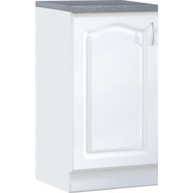 Meuble bas de cuisine style contemporain 1 porte coloris blanc Façade bois MDF blanc mat + Caisson en panneaux de particules  L. 60 x P. 60 x H. 82 cm collection Dingman