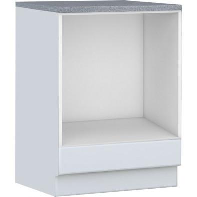 Meuble bas de cuisine style contemporain pour four  1 tiroirs coloris blanc Façade bois MDF blanc mat avec moulure + Caisson en panneaux de particules  L. 60 x P. 60 x H. 82 cm collection Dingman
