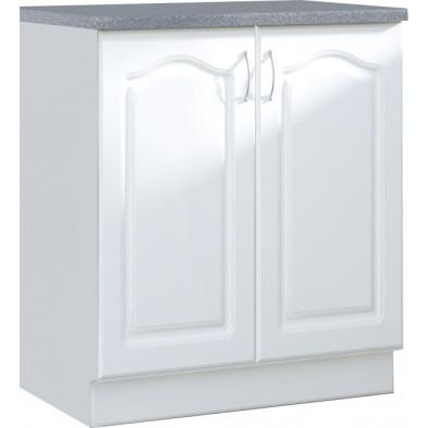 Meuble bas de cuisine style contemporain 2 portes coloris blanc Façade bois MDF blanc mat avec moulure + Caisson en panneaux de particules  L. 80 x P. 60 x H. 82 cm collection Dingman