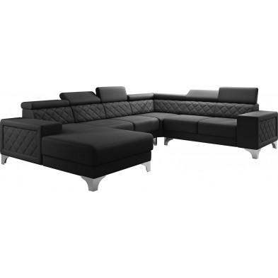 Canapés d'angle noir moderne en pvc 6 places L. 325-260-180 x P. 96 x H. 87-107 cm collection LUGANO