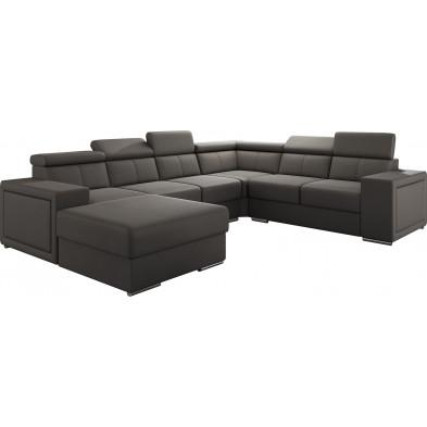 Canapés d'angle marron moderne en pvc 6 places L. 260-325-180 x P. 94-96 x H. 67-100 cm collection SANDRA