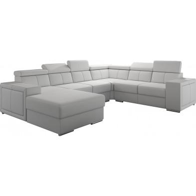 Canapés d'angle blanc moderne en pvc 6 places . 260-325-180 x P. 94-96 x H. 67-100 cm collection SANDRA