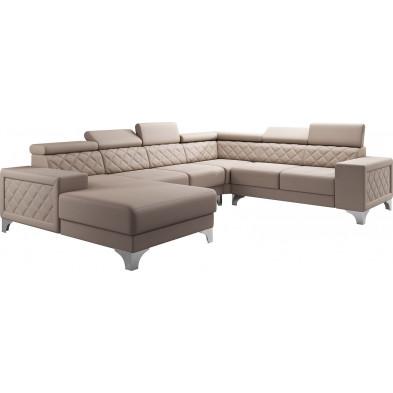 Canapés d'angle beige moderne en pvc 6 places L. 325-260-180 x P. 96 x H. 87-107 cm collection LUGANO