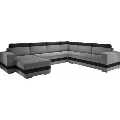 Canapés d'angle convertibles et réversible gris design en acier 6 places L. 339-258 x P. 82 x H. 75-80 cm collection ELENA