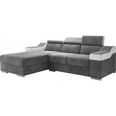 Canapés d'angle blanc design en acier 3 places . 255 x P. 95-96 x H. 82-102 cm collection MIAMI