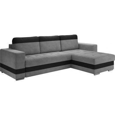 Canapés d'angle convertibles et réversible gris design 4 places L. 258 x P. 82 x H. 75-80 cm collection ELENA