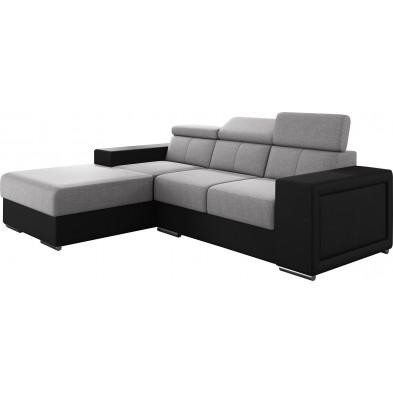 Canapés d'angle gris moderne en acier 3 places L. 255-180 x P. 94-96 x H. 67-100 cm collection SANDRA