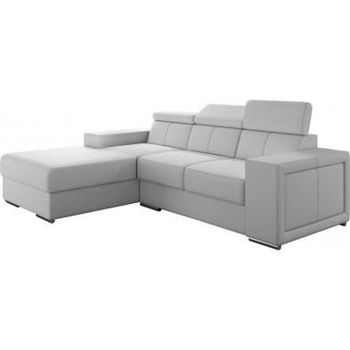 Canapés d'angle blanc moderne en pvc 3 places L. 255-180 x P. 94-96 x H. 67-100 cm collection SANDRA