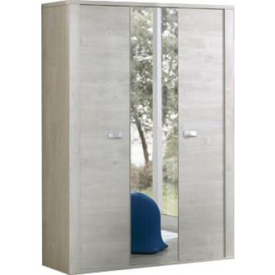 Armoire 3 portes beige moderne en panneaux de particules mélaminés de haute qualité  L. 150 x P. 53 x H. 202 cm collection Ribeirabrava