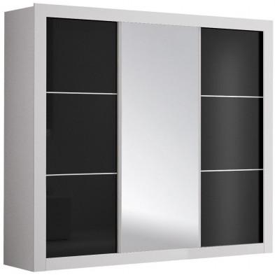 Armoire porte coulissante noir design en panneaux de particules de haute qualité L. 250 x P. 65 x H. 220 cm collection Bicknacre