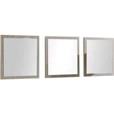 Miroir de salle à manger marron moderne en panneaux de particules mélaminés de haute qualité L. 60 x P. 1,4 x H. 60 cm  collection Trigg