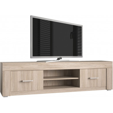 Meuble tv marron contemporain en panneaux de particules de haute qualité L. 190 x P. 45 x H. 45 cm collection Vaaben