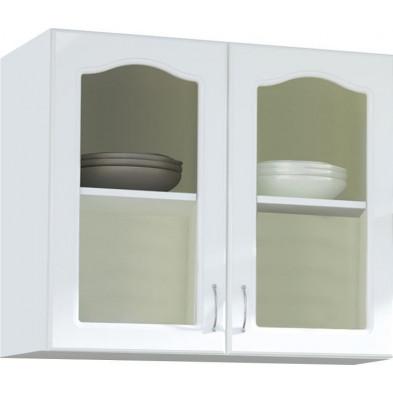 Meuble haut de cuisine style contemporain 2 portes vitrées coloris blanc Façade bois MDF blanc mat avec moulure + Caisson en panneaux de particules  L. 100 x P. 30 x H. 72 cm collection Dingman