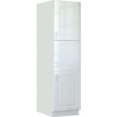 Colonne de cuisine style contemporain 3 porte coloris blanc Façade bois MDF blanc mat avec moulure + Caisson en panneaux de particules L. 60 x P. 60 x H. 210 cm collection Dingman