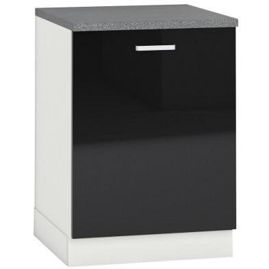Meuble bas de cuisine design 1 porte coloris blanc mat et noir laqué façade finition laqué haute brillance + Caisson en panneaux de particules 16mm recouverts de mélaminé  L. 60 x P. 60 x H. 82 cm collection Bayton