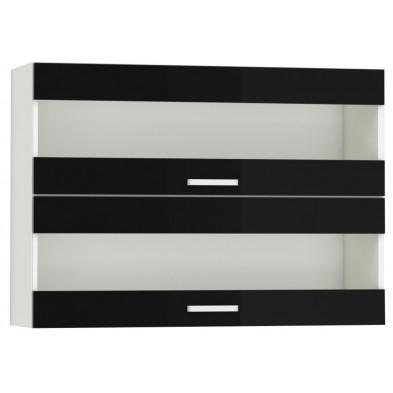 Meuble haut de cuisine design 2 portes vitrées horizontales coloris blanc mat et noir Finition façade : laqué haute brillance + Caisson en panneaux de particules 16mm recouverts de mélaminé  L. 100 x P. 30 x H. 72 cm collection Bayton
