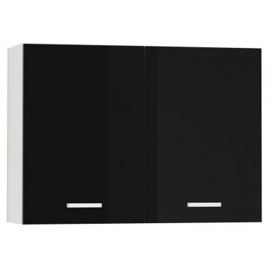 Meuble haut de cuisine design 2 portes coloris blanc mat et noir laqué Finition façade : laqué haute brillance + Caisson en panneaux de particules 16mm recouverts de mélaminé  L. 100 x P. 30 x H. 72 cm collection Bayton