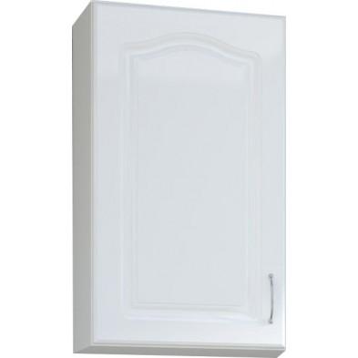 Meuble haut de cuisine style contemporain 1 porte coloris blanc EN bois MDF blanc mat avec moulure + Caisson en panneaux de particules   L. 40 x P. 30 x H. 72 cm collection Dingman