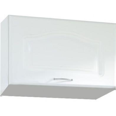 Meuble haut de cuisine style contemporain pour hotte avec 1 porte horizontale coloris blanc L. 60 x P. 30 x H. 36 cm collection Dingman