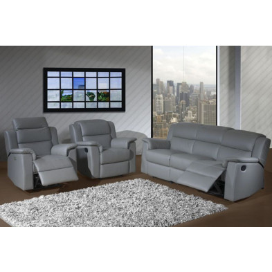 Canapé relax gris contemporain  en cuir 2 places  L. 148 x P. 95 x H. 87 cm collection Rothesten