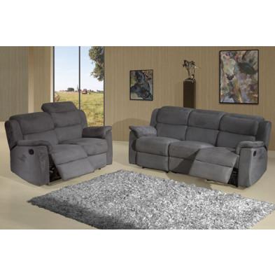 Canapé relax gris contemporain en bois massif et  tissu  3 places L. 203 x P. 95 x H. 87 cm  collection Donim