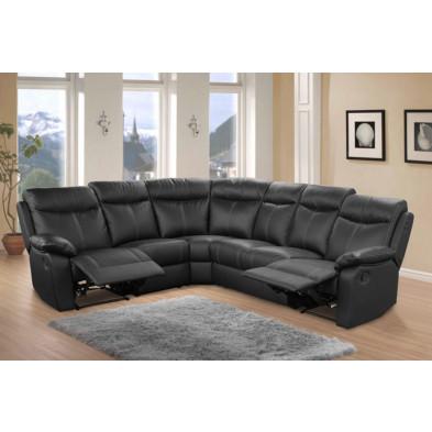 Canapé d'angle noir contemporain en cuir 6 places L. 225 x P. 275 x H. 102 cm collection Sernhin