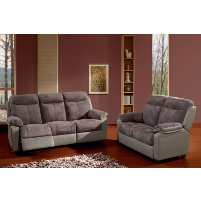 Canapé relax gris contemporain en microfibre  3 places  L. 201 x P. 91 x H. 101 cm  collection Creetown