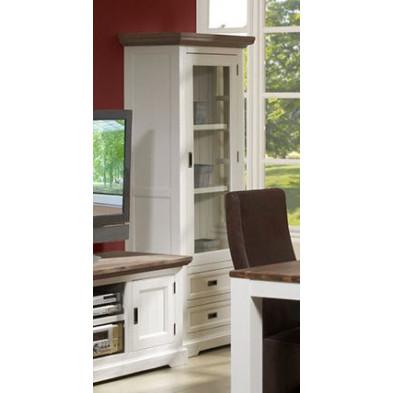 Argentier - vaisselier - vitrine en blanc contemporain en bois massif acacia L. 75 x P. 45 x H. 185 cm  collection Invite