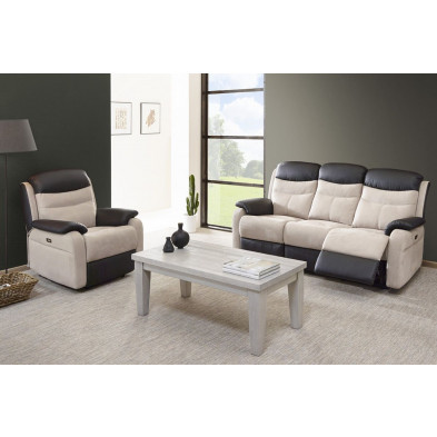 Ensemble canapés beige contemporain en  microfibre 6 places collection Confine