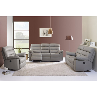Fauteuil moderne gris contemporain en cuir  1 place L. 203 x P. 90 x H. 95 cm collection Grabow