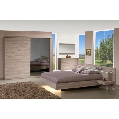 Pack chambre à coucher adulte contemporain marron en panneaux de particules et décors papier 140 x 200 cm Collection Breet