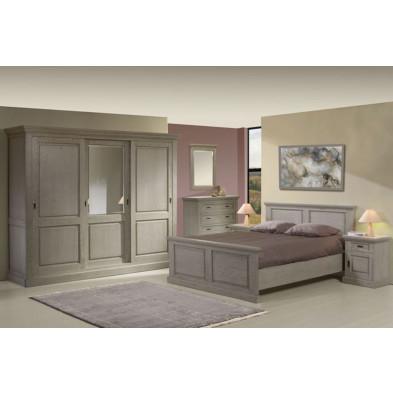 Pack chambre à coucher adulte contemporaine marron en bois massif et panneaux de particules 160 x 200 cm Collection Disagreeable