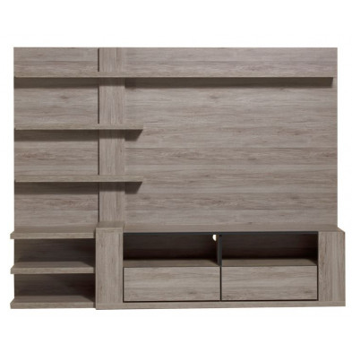 Ensemble meuble tv gris contemporain  L. 218 x P. 50 x H. 170 cm collection Vanhoute