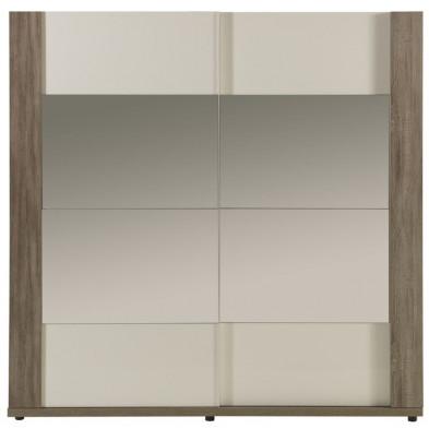 Armoire porte coulissante blanc contemporain en panneaux de particules mélaminés collection Eureka