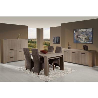 Argentier - meuble bar en bois massif gris contemporain  L. 160 x P. 46 x H. 148 cm ollection Llannerch collection