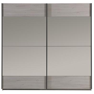 Armoire porte coulissante gris contemporain en panneaux de particules de haute qualité L. 220 x P. 66 x H. 216 cm  collection Sheep