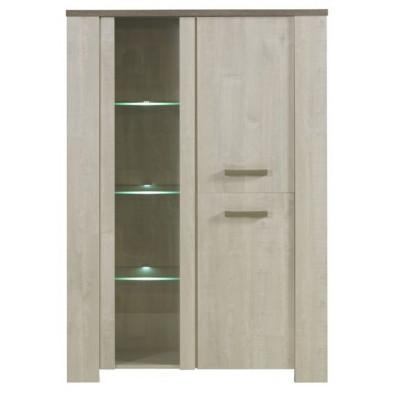 Argentier - vaisselier - vitrine marron contemporain en bois massif chêne L. 121 x P. 45 x H. 174 cm collection Sohier