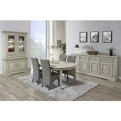 Salle à manger complète classique gris en bois massif et panneaux de particules de haute qualité Collection Lunen