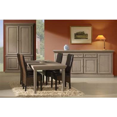 Table de salle à manger gris rustique en panneaux de partiucles L. 200/250/300 x P. 95 x H. 75 cm collection Schafer