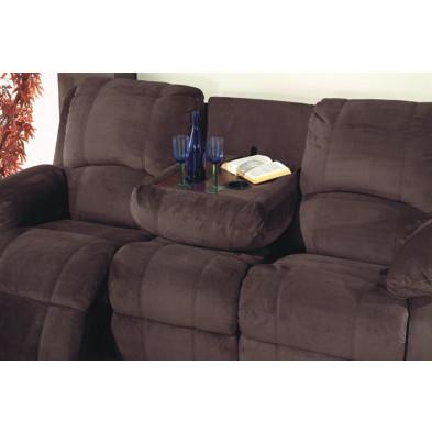 Canapé relax marron contemporain en tissu microfibre  3 places L. 216 x P. 95 x H. 102 cm collection Sharonda