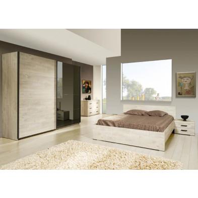 Pack chambre à coucher adulte contemporaine coloris chêne en panneaux de particules et décors papier 140 x 200 cm Collection Disagreeable